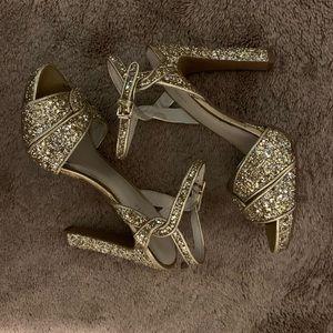 NICE WEST **sparkly gold heels**